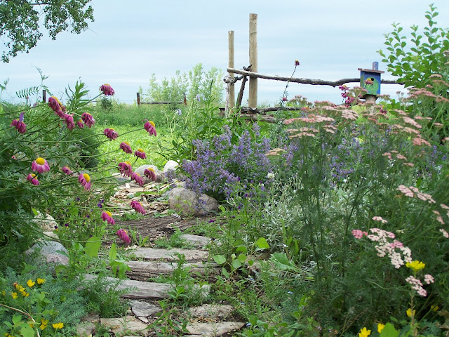 Rocks and split log pathway through flowers