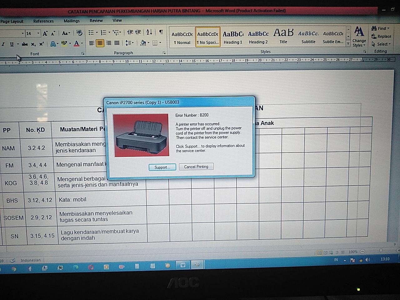 Cara Jitu Mengatasi Printer Canon Error B200