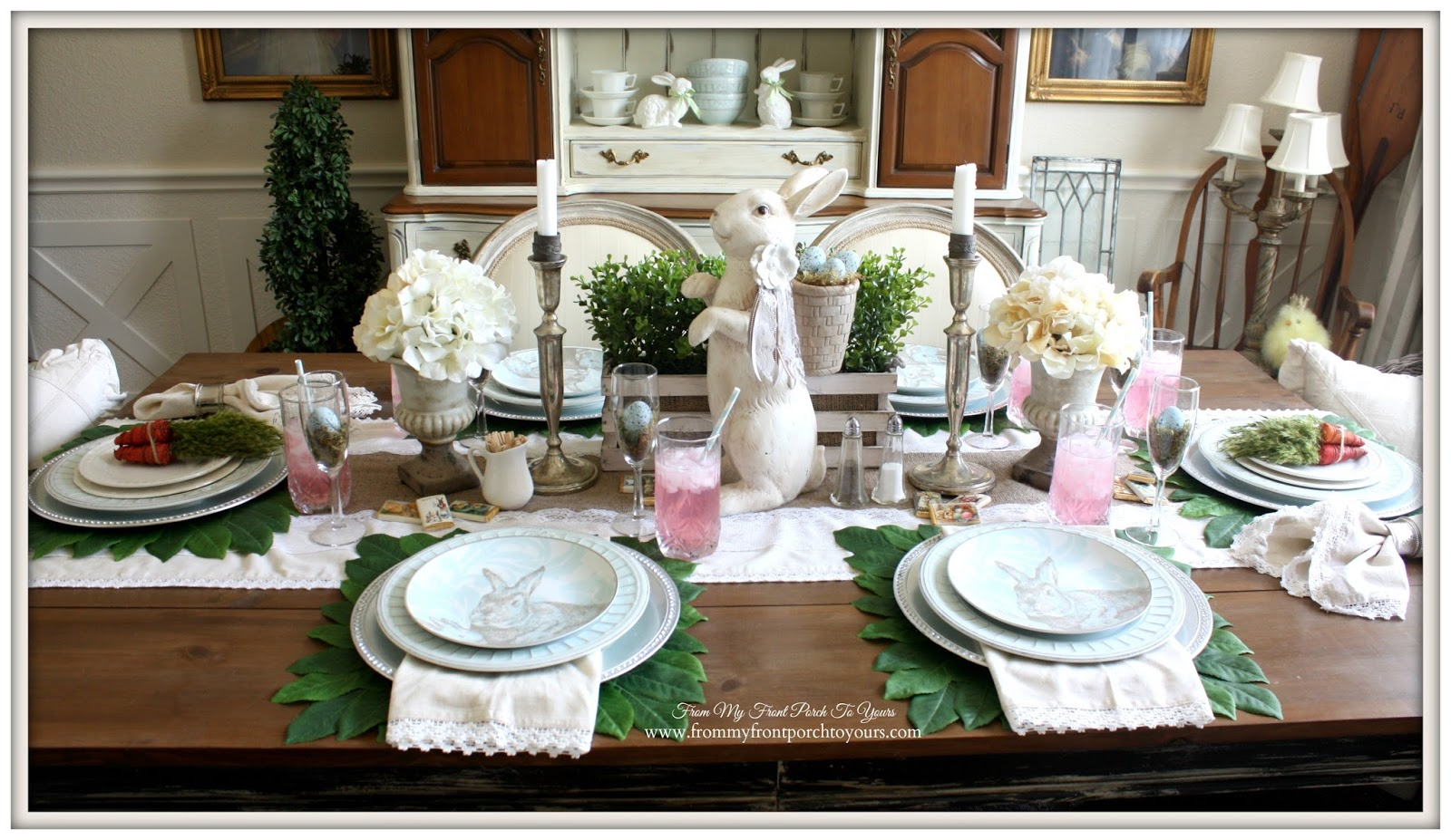 Easter Table Setting-French Farmhouse Easter Dining Room- From My Front Porch To Yours
