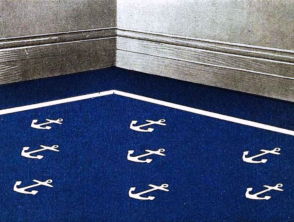 a nautical style anchors pattern carpet