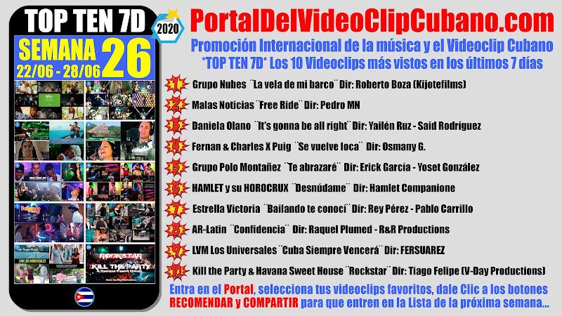 Artistas ganadores del * TOP TEN 7D * con los 10 Videoclips más vistos en la semana 26 (22/06 a 28/06 de 2020) en el Portal Del Vídeo Clip Cubano