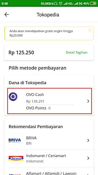 Pilih metode pembayaran di Tokopedia