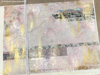 creating mixed media collage art layers for the Childrens Clothing Collage by Jenny James