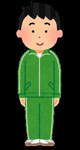 ジャージを着た男性のイラスト(緑)