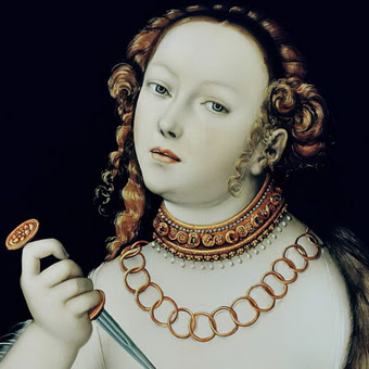 """Particolare del dipinto """"Lucrezia"""" di Lucas Cranach il Vecchio (1472-1553)"""