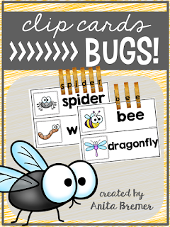 FREE Bug themed clip cards- just add clothespins!