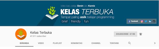 Channel youtube terbaik untuk belajar bahasa pemograman