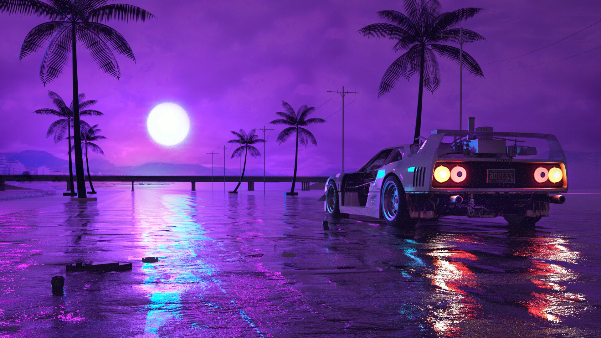 RETRO WAVE CAR PURPLE NIGHT MOON WALLPAPER 1080p