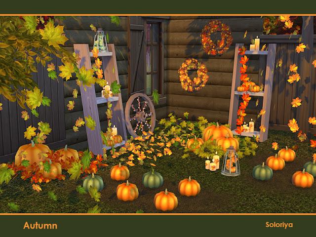 Autumn осень для The Sims 4 Осенний декоративный набор. Включает в себя 13 предметов. Каждый предмет имеет 2-5 цветовых вариаций. Предметы в наборе: - четыре вида декоративных листьев - четыре вида тыкв - два вида функциональных свечей - венок - лестница с функциональными полками - колесо. Автор: soloriya