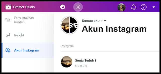 Akun instagram di Creator Studio Facebook