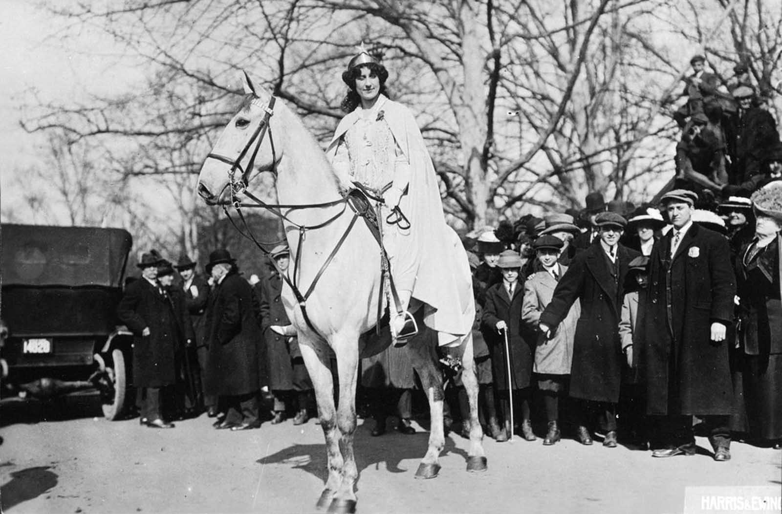 Lawyer Inez Milholland Boissevain prepares to lead the Suffrage Parade, on March 3, 1913.