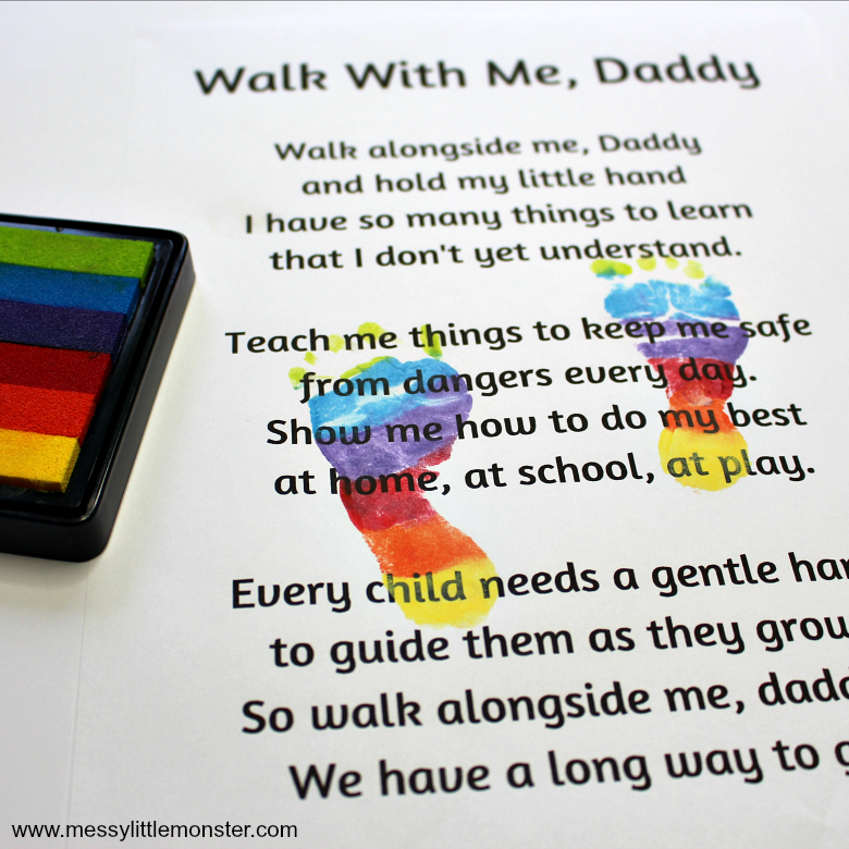 Printable Father's day cards - Walk with me daddy poem