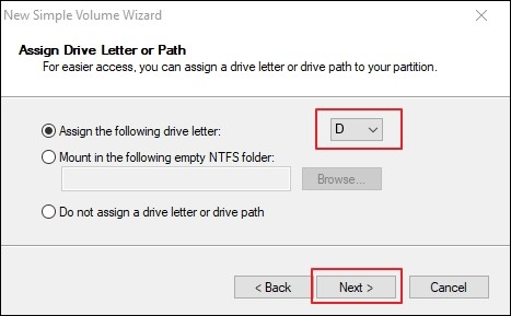 Assign Drive Letter or Path