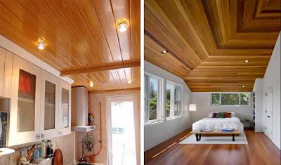Contoh terpasang plafon kayu lambersering
