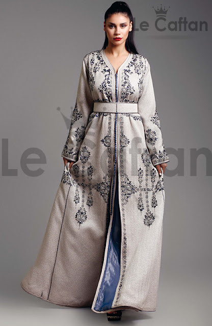 dcc64d5ea60 Robe Caftan Blanche Cocktail Simple - COLLECTION Caftan Mariage ...