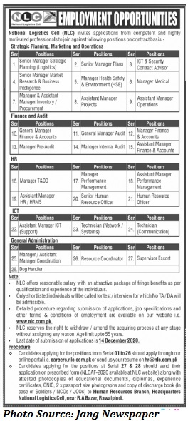 NLC Jobs 2020 - Latest Jobs in National Logistics Cell December 2020 Apply Online for NLC Jobs