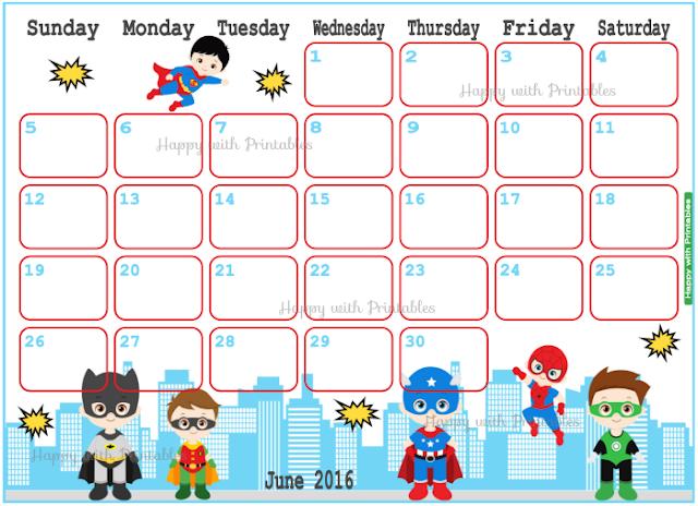 Superhero calendar, Calendar June 2016 Printable, Superhero Planner, batman planner, cute planner
