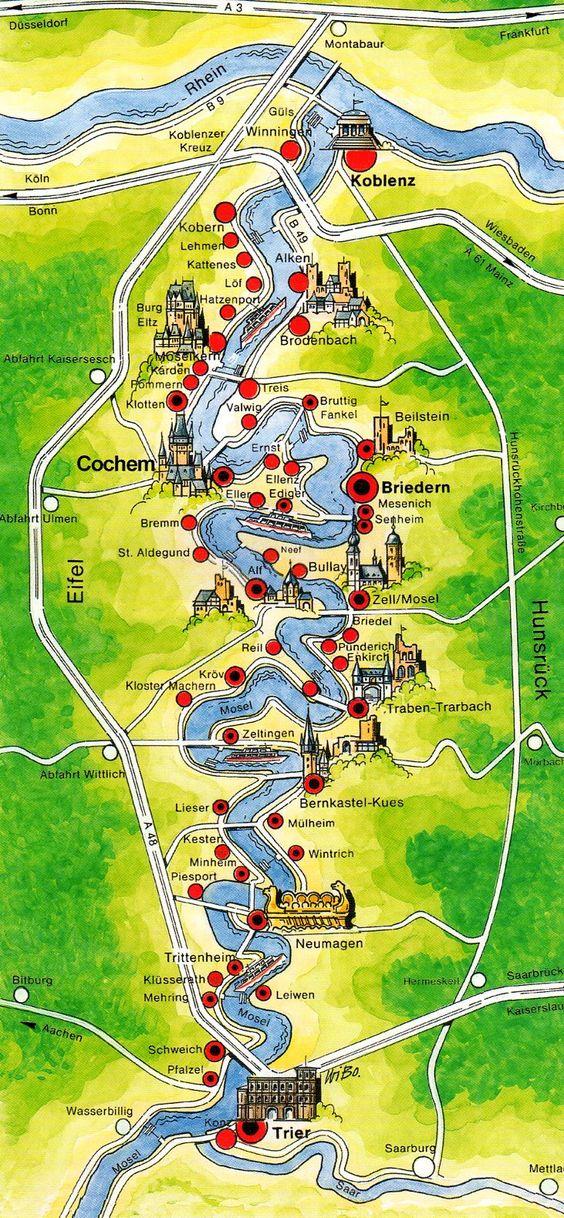 Roteiro pelo Rio Mosel (Alemanha) com vinícolas - mapa