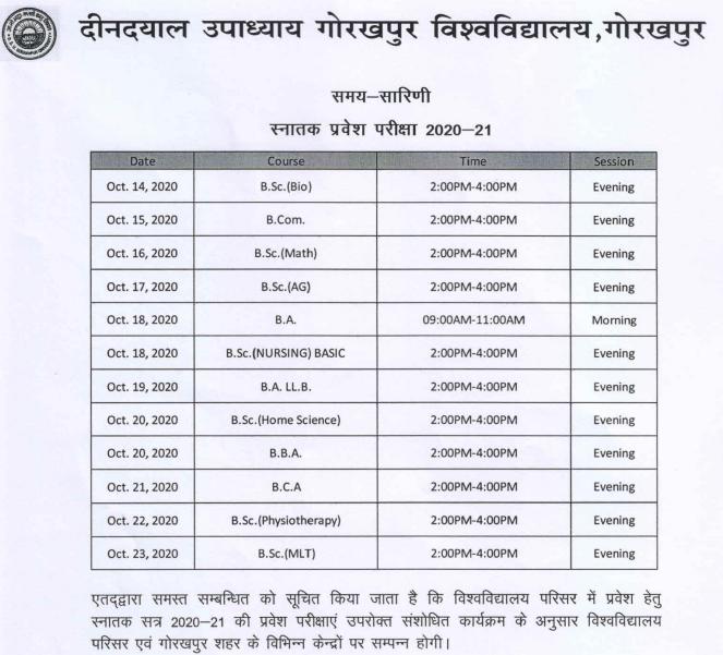 DDU UG Exam date