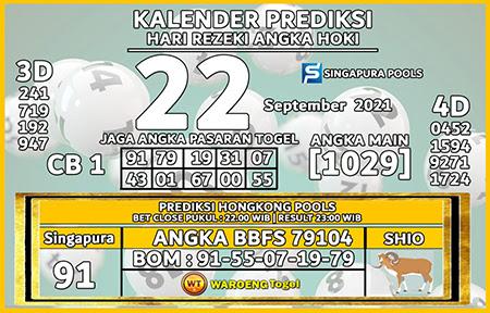 Prediksi Warung Togel Singapura Rabu 22 September 2021