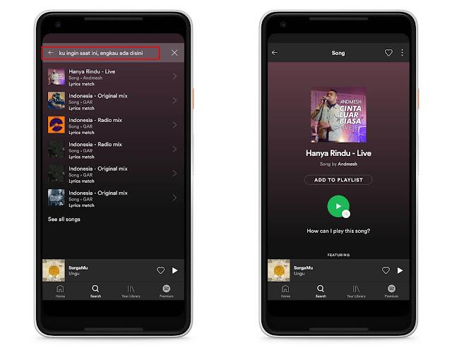 Anda Kini Boleh Cari Tajuk Lagu Berpandukan Lirik Melalui Carian Di Spotify