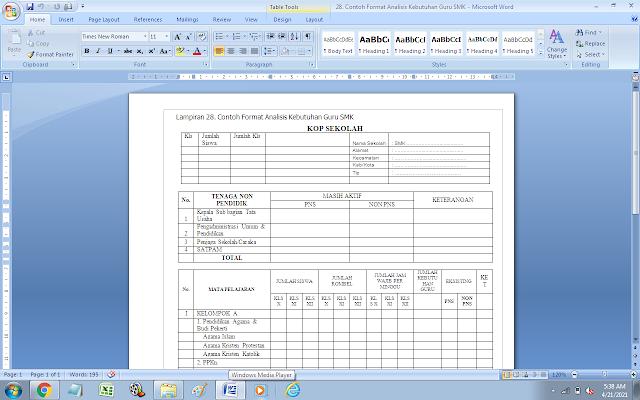 Contoh Format Analisis Kebutuhan Guru SMK