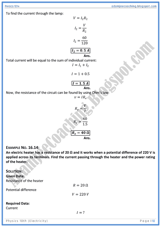 Electricity Class 10 Numericals