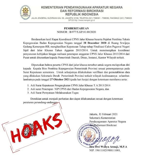Kementerian PANRB Tegaskan Pengangkatan CPNS Jalur Khusus Hoaks