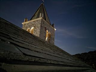 The belltower of Church of San Pietro (Porto Venere) at night