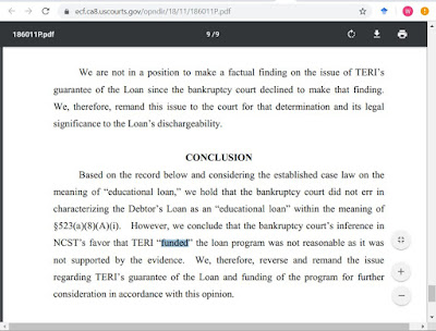 In re Page, 592 B.R. 334 (8th Cir. BAP 2018) (dischargeability of TERI-guarnateed loan)