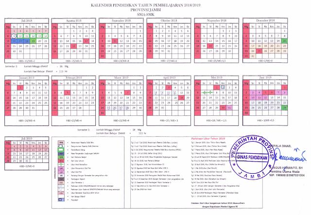 Kalender Pendidikan Provinsi Jambi Tahun Pelajaran 2018/2019