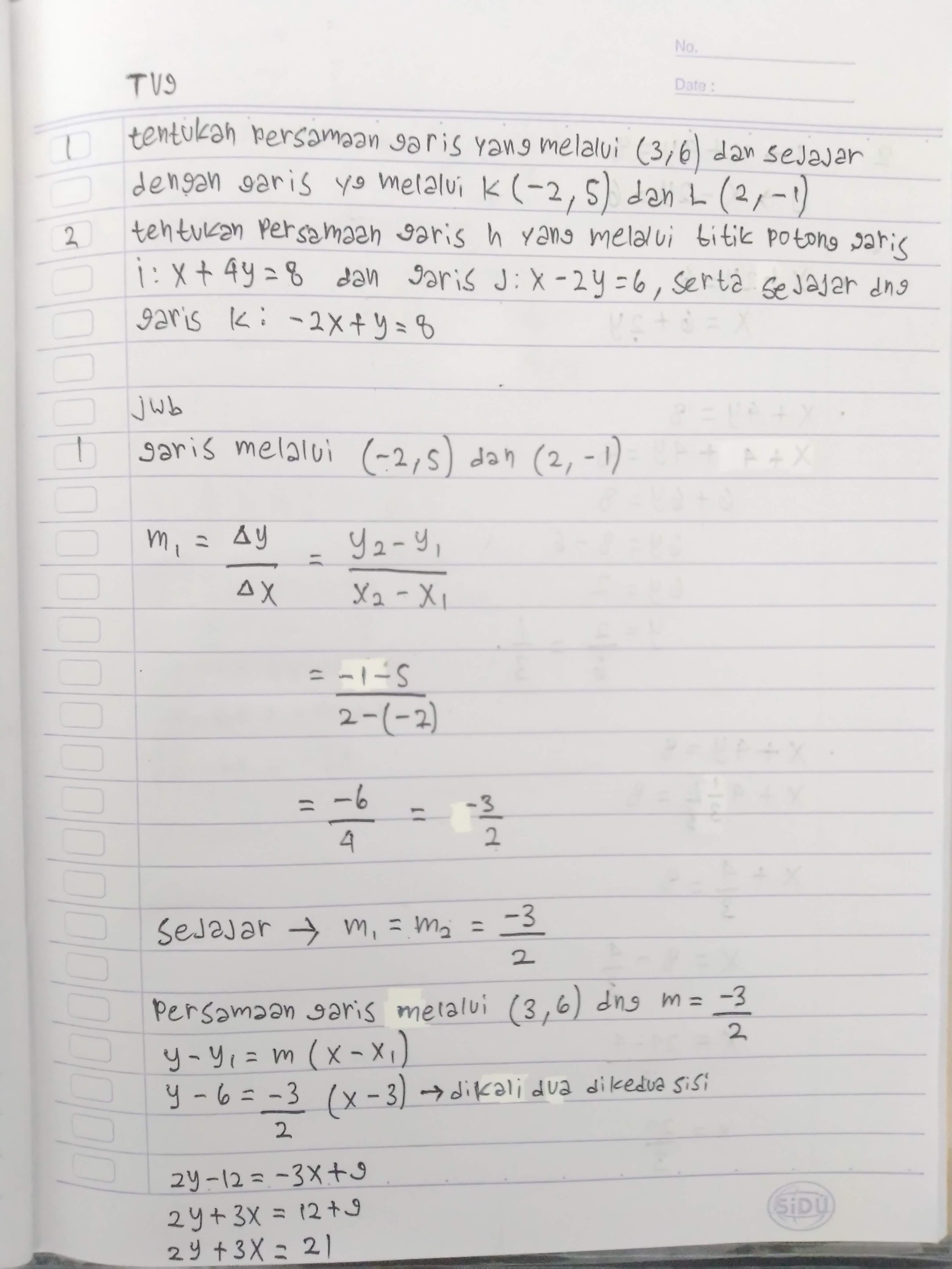 Jawaban TV9 Matematika hari ini