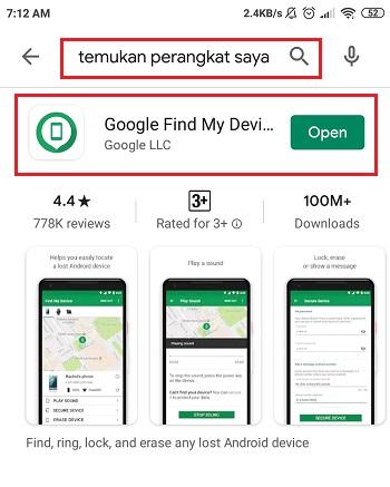 download aplikasi find device di Google play store