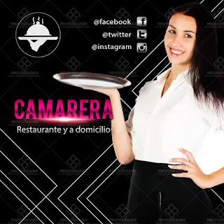 plantilla de anuncio para promocionar y buscar trabajo de mesera o camarera