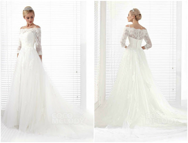 Glamorous A-Line Spaghetti Strap Chapel Train Tulle Wedding Dress
