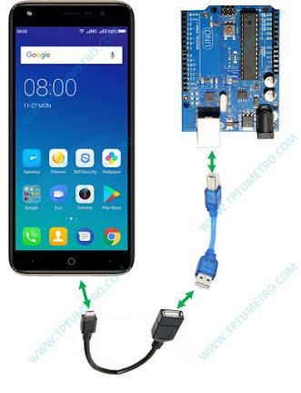 menghubungkan android dengan kabel otg, kabel usb printer, dan arduino board