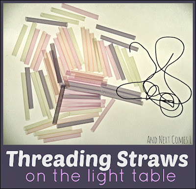 Practice fine motor skills on the light table with this simple threading invitation from And Next Comes L
