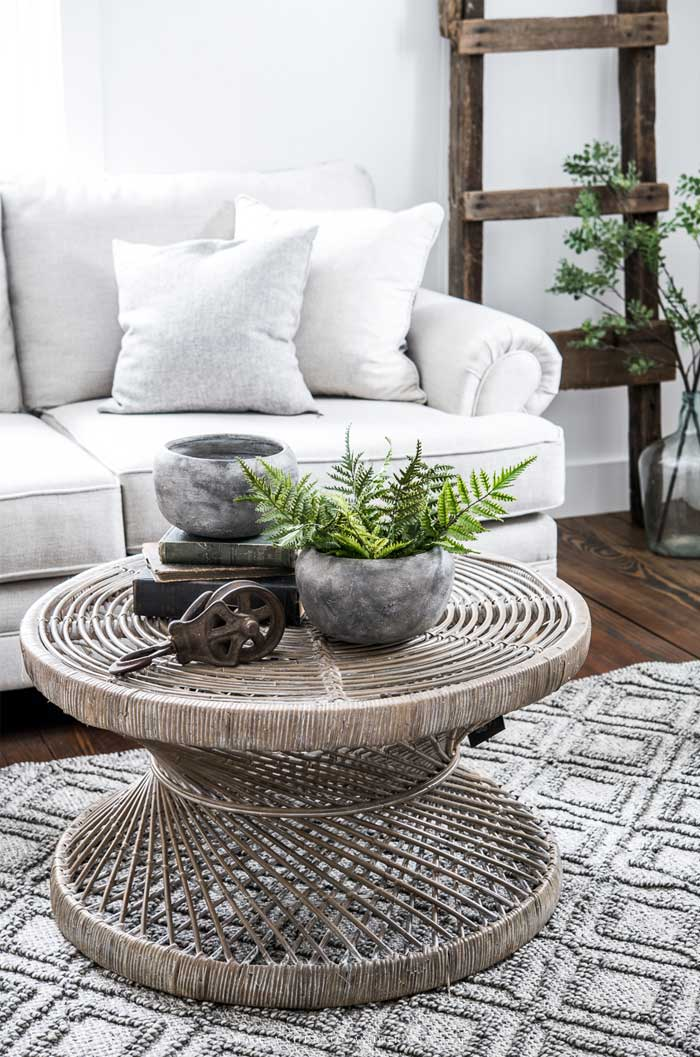 Coffee table with stone planters and pulley
