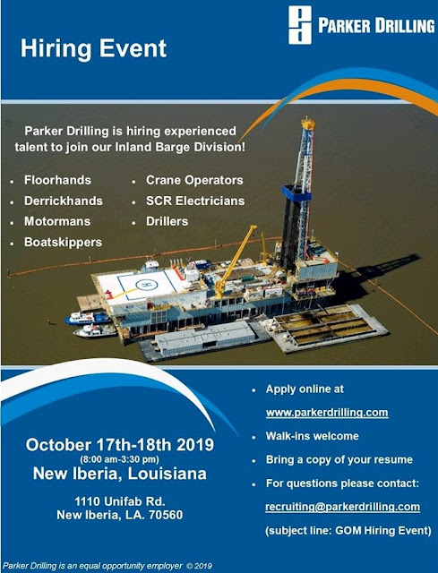 Parker Drilling Hiring All Rig Hands at Oct 17th and 18th Hiring Event- Louisiana.