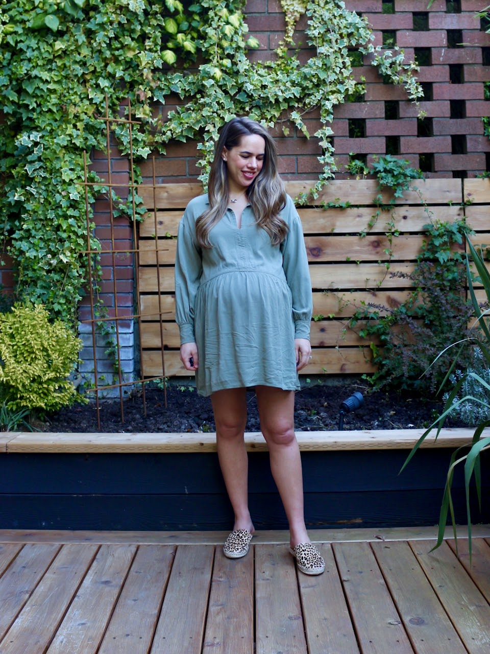 Jules in Flats - Airy Trapeze Dress + Leopard Espadrille Slides WFH Outfit (Business Casual Workwear on a Budget)