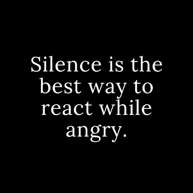 Silence is the best way to react while angry.