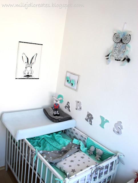 Pokój dla dziecka z sypialnią rodziców. Biały, szary i mięta. Jak urządzić pokoik dla dziecka. Malutki pokoik dla dziecka. Oklejanie mebli okleiną. DIY Bedroom Literki dla dziecka nad łóżeczko