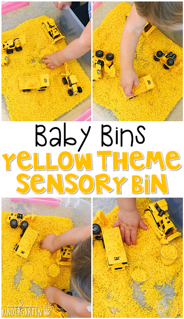 This yellow themed sensory bin is great for learning colors. These Baby Bin plans are perfect for learning with little ones between 12-24 months old.