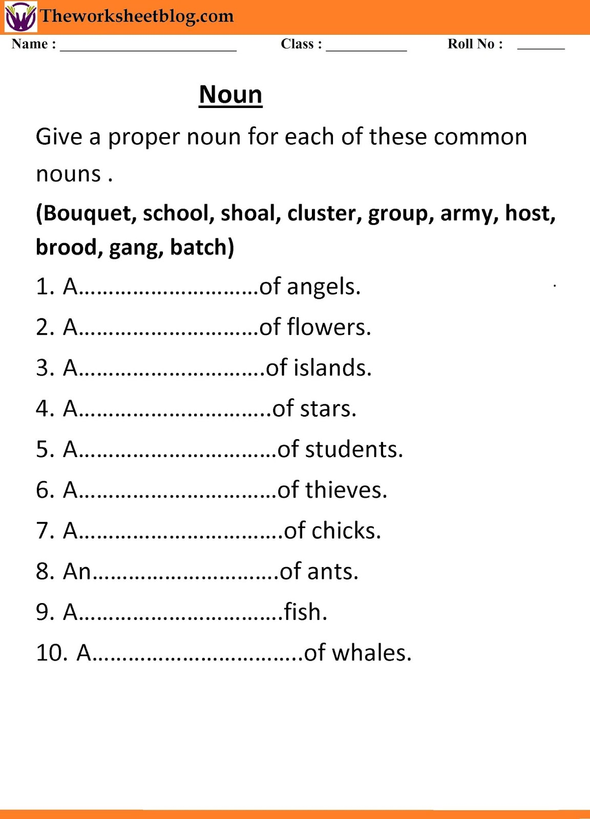 Noun Worksheets For Grade 1 And 2