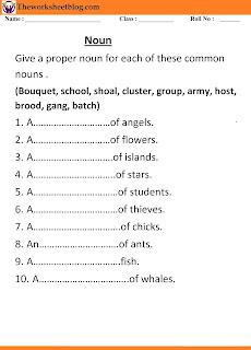 Noun Worksheet for Grade 1