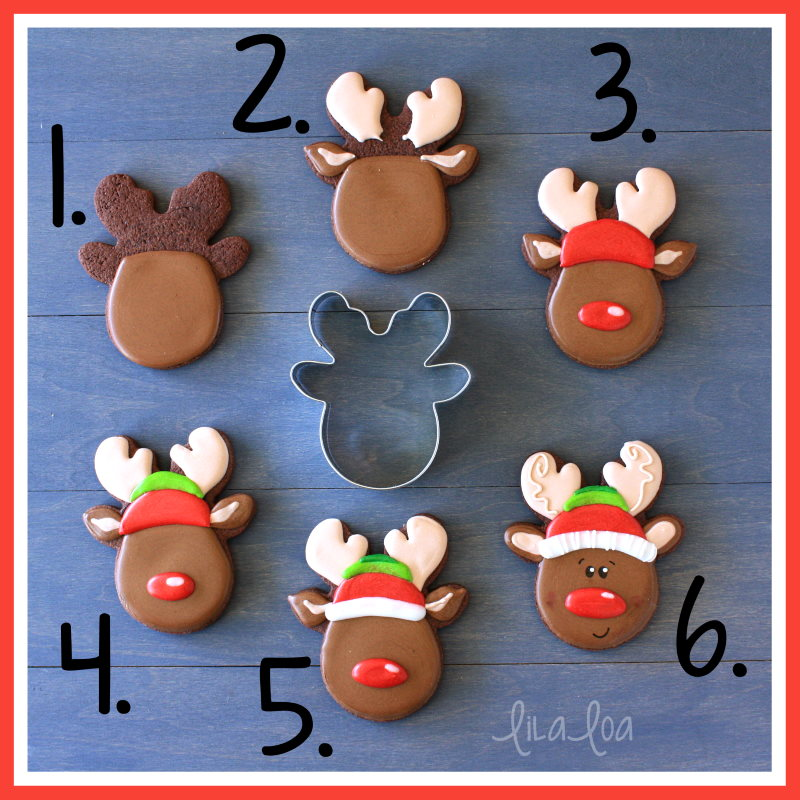 Step by step reindeer sugar cookie decorating tutorial