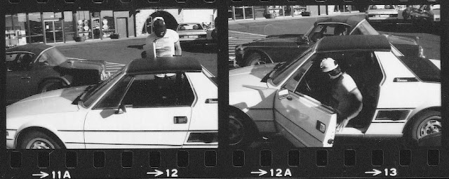 Lenny Campello in his Fiat X 1/9 circa 1980