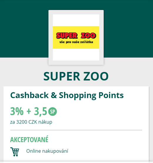 Super Zoo Cashback World výhody