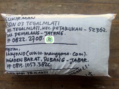 Benih padi yang dibeli   SUKIRMAN Pemalang, Jateng.  (Setelah packing karung )