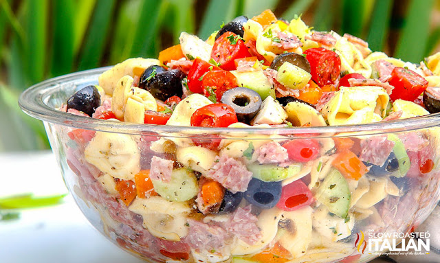 Tuscan Tortellini Pasta Salad in a bowl